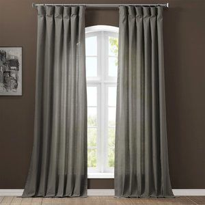 Solid Cotton Curtain Panel (Pair) Millstone Gray